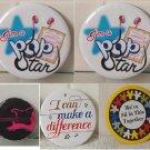Set Of 5 Button badges POP Star, Together, Defference & Guitar