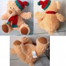 "Holiday Teddy Bear Plush 12"" Stuffed Animal Super Soft w/ Red & Green Hat/ Scarf"