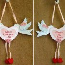 """PEACE ON EARTH"" & ""LOVE CONQUERS ALL"" LOVE BIRD Plaques NEW"
