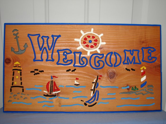 Large Lighthouse Welcome Sign