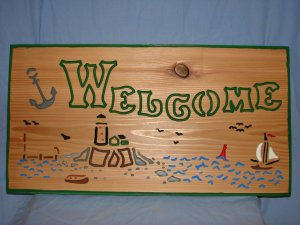 Large 21 x 11 Lighthouse/Boat Welcome Sign