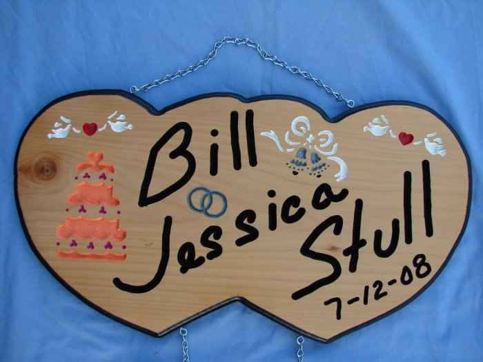 Double Heart Wedding Sign with Added Names