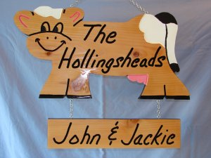 Cow Personalized Wood Sign with Added Name