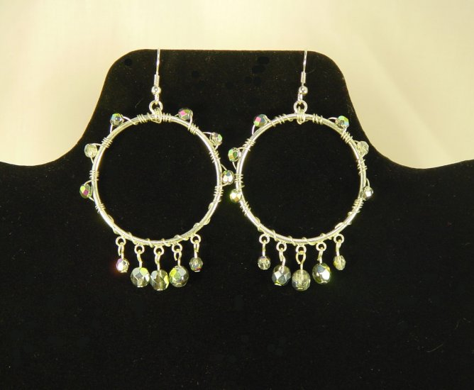 "Handcrafted 3"" Wired Wrapped Glass Beads and Dangles Gitano Hoop Earrings"