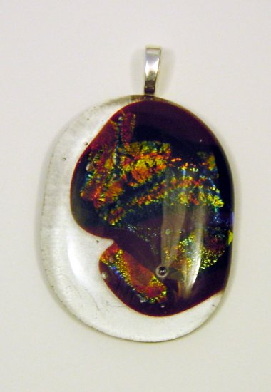 Handcrafted 2 1/2Lava Dichroic Fused Glass Pendant 3 Dichroic Glass