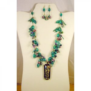 """Designed and Handcrafted Aqua Fused Glass 18"""" Necklace 2 1/4""""Dichroic Pendant"""