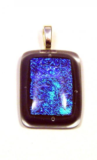 """Handcrafted 1 3/4"""" Gray Sparkles Glass Fused Pendant"""