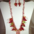 "Designed and Handcrafted Elegant Leaves Fused Glass 18""Necklace Set 2"" Dichroic Pendant"