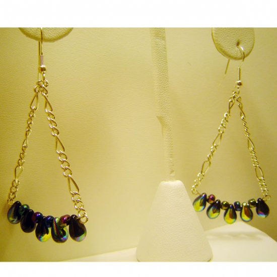 Handcrafted Chandelier Earrings Black Rainbow Glass Beads