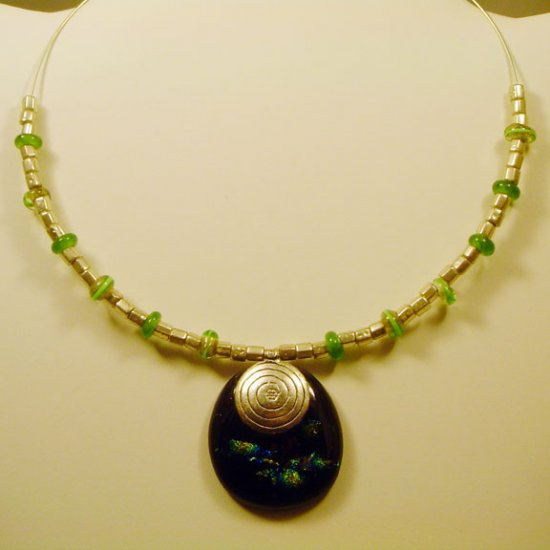 Handmade Fused and Dichroic Black & Green Glass Necklace w Lamptorched Beads