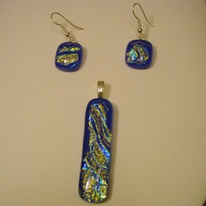 Handcrafted 2 1/4 Royal Blue Dichroic Fused Glass Pendant Rainbow Colors
