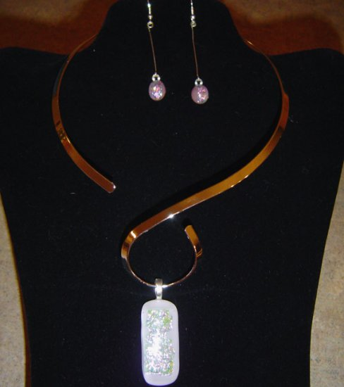White Glass Dichroic Pendant and Earrings with Choker