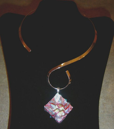 Assorted Free Form Glass Dichroic Pendant with Choker