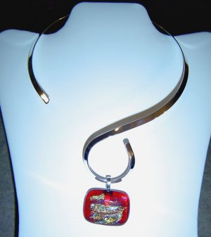 Red Dichroic Glass Pendant with Silver Color Choker