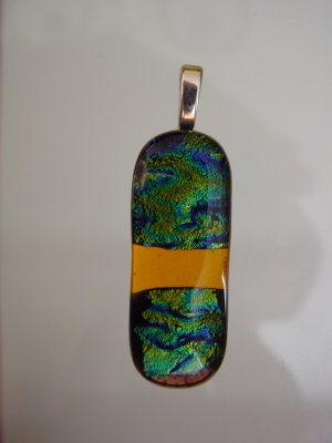 Green Dichroic Fused Glass Pendant/Green and orange
