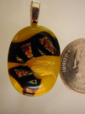 Fused Glass Yellow and Dichroic Pendant