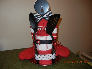Kitchen Towel Cake with Kitchen Gadgets