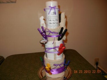 Kitchen Towel Cake with Kitchen Gadgets & Wedding Invitation Candle