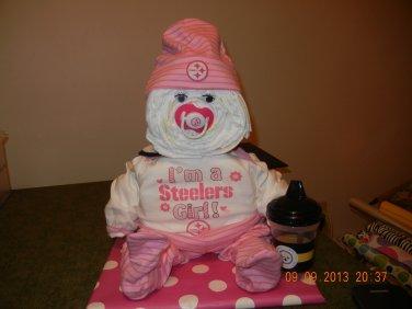 Pittsburgh Steelers Girl Sports Diaper Baby Cake