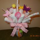 Washcloth & Diaper Bouquet-Diaper Centerpiece-Bouquet Arrangement