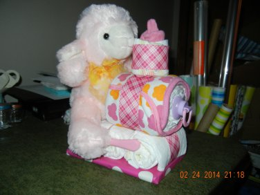 Lamb Train Diaper Cake