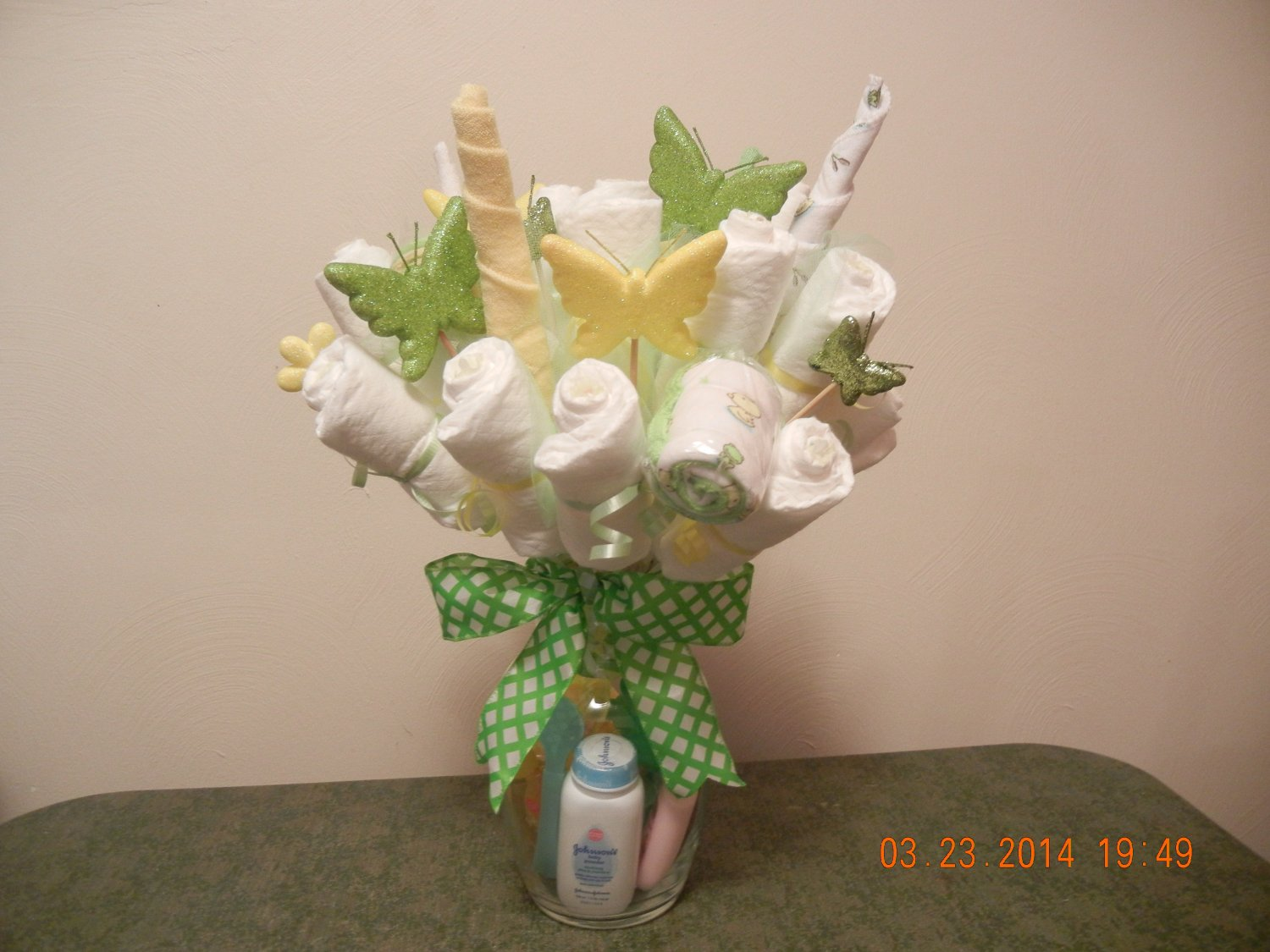 Washcloth Amp Diaper Bouquet Diaper Centerpiece Bouquet