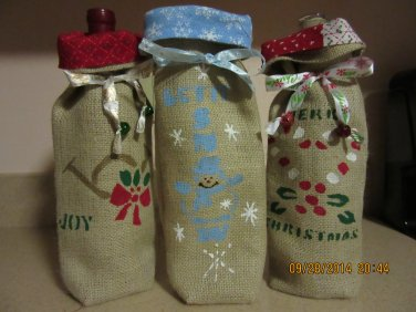 """Holiday Wine Bags  5"""" x 13"""",Burlap Wine Bags, Party Wine Bags, New Years Gift, Christmas Wine Bags"""