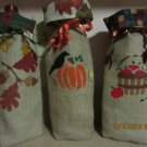 "Holiday Wine Bags  5"" x 13"",Burlap Wine Bags, Party Wine Bags, Thanksgiving Gift, Autumn Bags"