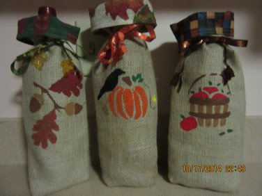 """Holiday Wine Bags  6"""" x 15"""",Burlap Wine Bags, Party Wine Bags, Thanksgiving Gift, Autumn Bags"""