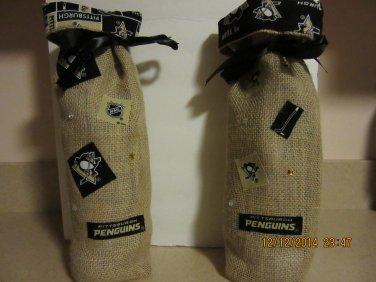 "Pgh Penguins Wine Bags  6"" x 15"",Burlap Wine Bags, Party Wine Bags,Sports Wine Bag, NFL Wine Bag"