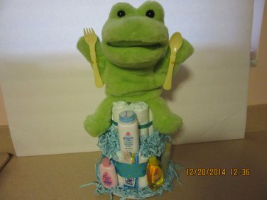Mini Two Layer Diaper Cake - Frog Theme