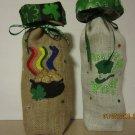"St Patrick's Day  Wine Bags  6"" x 15"",Burlap Wine Bags, Party Wine Bags,Centerpieces"