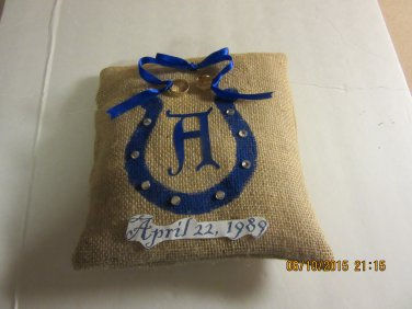 Horseshoe Ring Bearer Pillow, Wedding Pillow, Rustic Pillow, Burlap Ring Bearer Pillow