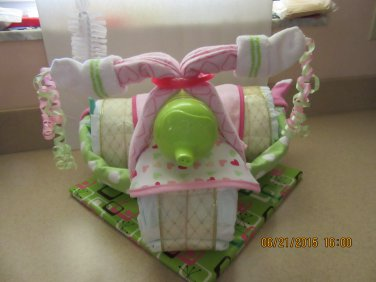 Pink & Green Girl Tricycle Diaper Cake