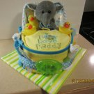 Elephat Bath Time Bassinet Diaper Cake
