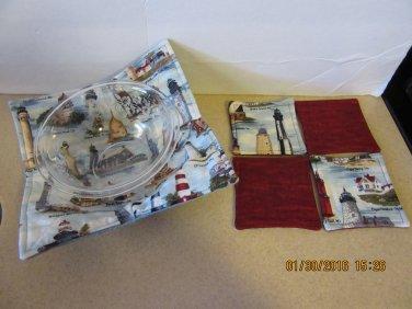 "Microwaver Bowl Cozies (Size 12""-Medium & set of 4 Coasters), Kitchen Gift, Housewarming Gift"