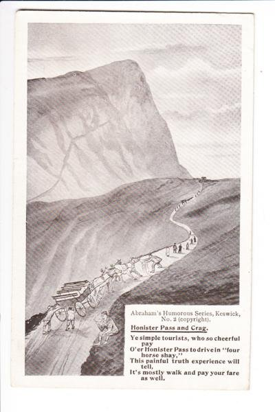 Honister Pass and Crag Humorous Series Postcard. Mauritron 249798