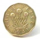 Pin Badge 3d Threepence Threepenny Bit. KG VII 1941 Mauritron #250243.
