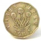 Pin Badge 3d Threepence Threepenny Bit. KG VII 1942 Mauritron #250244.