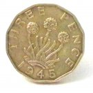 Pin Badge 3d Threepence Threepenny Bit. KG VII 1945 Mauritron #250247.