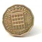 Pin Badge 3d Threepence Threepenny Bit. QE II 1953 Mauritron #250248.