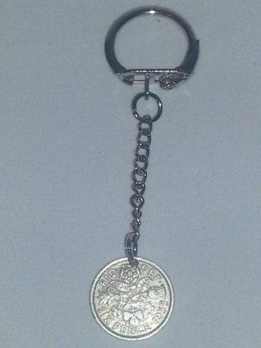 Keyring Lucky 6d Sixpence Coin 1955.  Mauritron #250474.