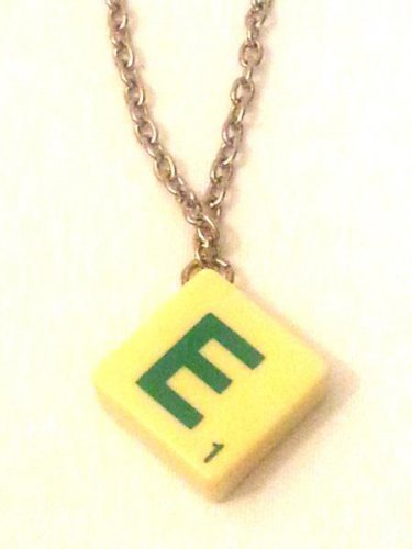 "Necklace Scrabble Letter E on Cream Tile 30"""" Chain   Mauritron #250491."