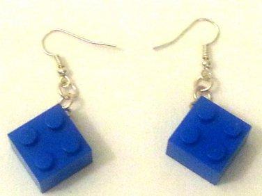 Earrings Blue Lego Building Bricks Set.  Mauritron #250494.