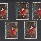 GB QEII Stamp. 1967 Paintings 4d Set of 5 MFU SG748 Mauritron #78134