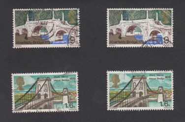 GB QEII Stamp. 1968 Bridges 9d and 1s 6d Fine Used x 2 each Mauritron #78147