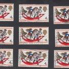 GB QEII Stamp. 1968 Christmas 4d x 9 MFU SG775 Mauritron #78191