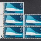 GB QEII Stamp. 1969 Concorde 1/6d BLK 5 UM SG786 Mauritron #78202