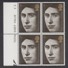 GB QEII Stamp. 1969 Prince Charles 1s Edge BLK 4 UM SG806 Mauritron #78224