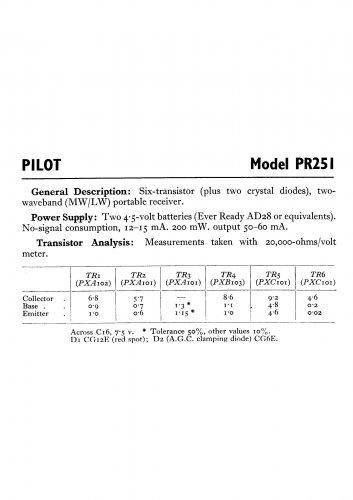 Pilot PR251 Schematics Circuits Service Sheets  for download.
